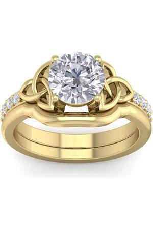 SuperJeweler 1.5 Carat Round Moissanite Claddagh Bridal Ring Set in 14K (6.30 g)