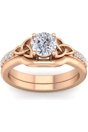 SuperJeweler 3/4 Carat Round Moissanite Claddagh Bridal Ring Set in 14K (6 g)