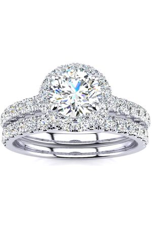 SuperJeweler 1.5 Carat Round Moissanite Halo Bridal Ring Set in 14K (5.50 g)