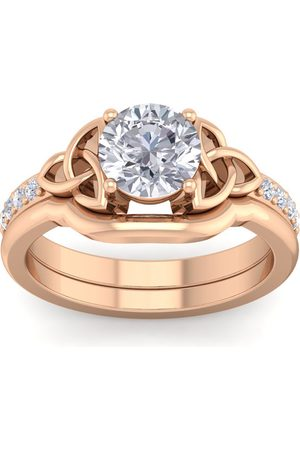 SuperJeweler 1 Carat Round Moissanite Claddagh Bridal Ring Set in 14K (6 g)