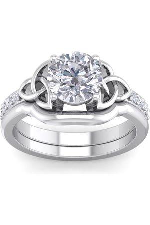 SuperJeweler 2 Carat Round Moissanite Claddagh Bridal Ring Set in 14K (6.50 g)
