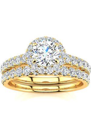 SuperJeweler 1 Carat Round Moissanite Halo Bridal Ring Set in 14K (5.50 g)
