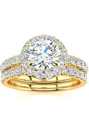 SuperJeweler 2 Carat Round Moissanite Halo Bridal Ring Set in 14K (5.80 g)