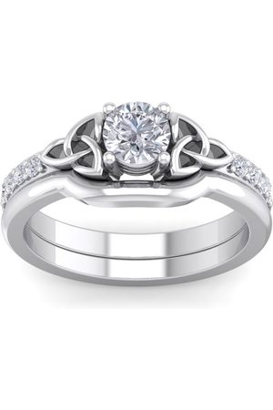 SuperJeweler 1/2 Carat Round Moissanite Claddagh Bridal Ring Set in 14K (6 g)