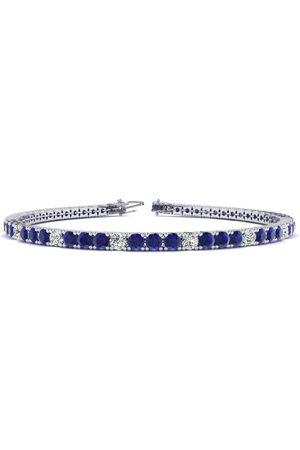SuperJeweler 7.5 Inch 4 Carat Sapphire & Diamond Alternating Men's Tennis Bracelet in 14K (10 g)