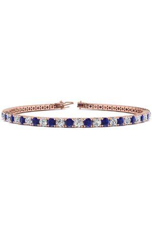 SuperJeweler 7.5 Inch 5 Carat Sapphire & Diamond Men's Tennis Bracelet in 14K (10.1 g)
