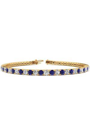 SuperJeweler 7.5 Inch 3 1/2 Carat Sapphire & Diamond Men's Tennis Bracelet in 14K (10 g)