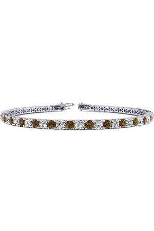 SuperJeweler 8.5 Inch 4 3/4 Carat Chocolate Bar Brown Champagne & White Diamond Men's Tennis Bracelet in 14K (11.4 g)