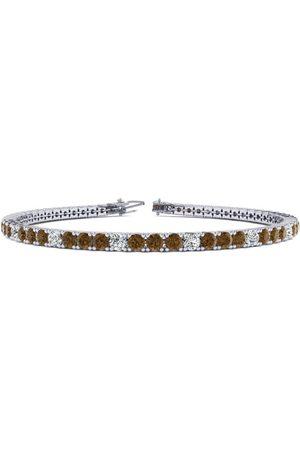 SuperJeweler 7.5 Inch 4 1/4 Carat Chocolate Bar Brown Champagne & White Diamond Alternating Men's Tennis Bracelet in 14K (10.1 g)