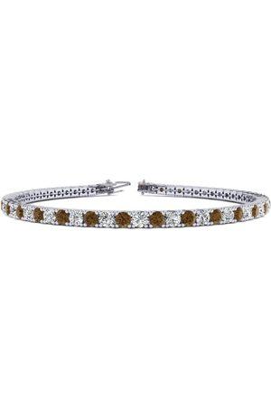 SuperJeweler 9 Inch 5 Carat Chocolate Bar Brown Champagne & White Diamond Men's Tennis Bracelet in 14K (12.1 g)