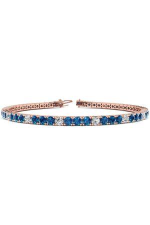 SuperJeweler 9 Inch 5 Carat Blue & White Diamond Alternating Men's Tennis Bracelet in 14K (12.1 g)