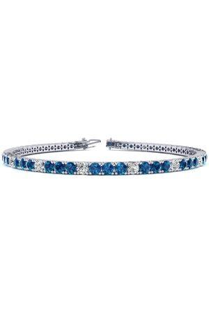 SuperJeweler Men Bracelets - 7.5 Inch 2 3/4 Carat Blue & White Diamond Men's Tennis Bracelet in 14K (10 g)