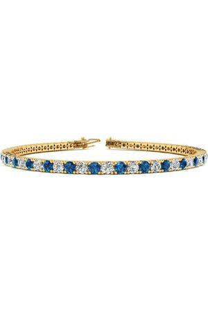 SuperJeweler 8.5 Inch 3 1/4 Carat Blue & White Diamond Men's Tennis Bracelet in 14K (11.3 g)