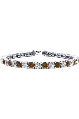 SuperJeweler 7.5 Inch 9 3/4 Carat Chocolate Bar Brown Champagne & White Diamond Men's Tennis Bracelet in 14K (12.9 g)