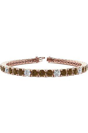SuperJeweler 8.5 Inch 11 1/5 Carat Chocolate Bar Brown Champagne & White Diamond Alternating Men's Tennis Bracelet in 14K (14.6 g)