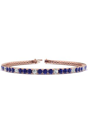 SuperJeweler 8 Inch 5 1/2 Carat Sapphire & Diamond Alternating Men's Tennis Bracelet in 14K (10.7 g)