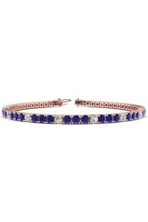 SuperJeweler 8.5 Inch 6 Carat Sapphire & Diamond Alternating Men's Tennis Bracelet in 14K (11.4 g)