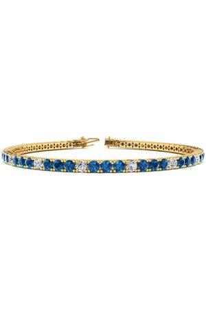 SuperJeweler 7.5 Inch 2 3/4 Carat Blue & White Diamond Men's Tennis Bracelet in 14K (10 g)