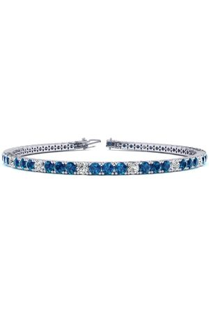 SuperJeweler 7.5 Inch 4 1/4 Carat Blue & White Diamond Alternating Men's Tennis Bracelet in 14K (10.1 g)