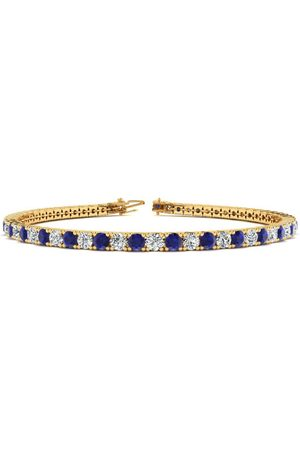 SuperJeweler 8 Inch 3 3/4 Carat Sapphire & Diamond Men's Tennis Bracelet in 14K (10.6 g)