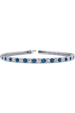 SuperJeweler 7.5 Inch 4 1/4 Carat Blue & White Diamond Men's Tennis Bracelet in 14K (10.1 g)