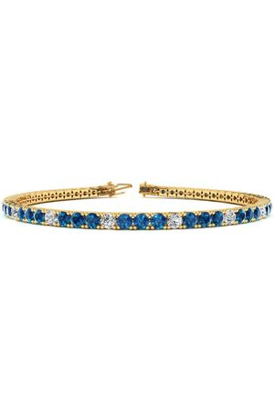 SuperJeweler 7.5 Inch 4 1/4 Carat Blue & White Diamond Alternating Men's Tennis Bracelet in 14K (10.1 g)