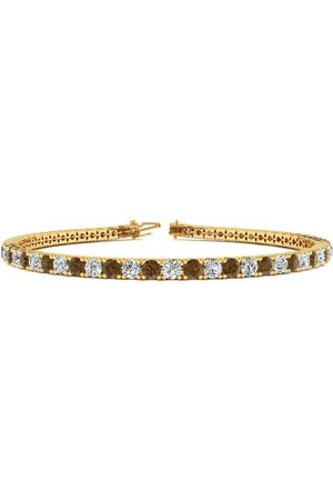 SuperJeweler 9 Inch 3 1/2 Carat Chocolate Bar Brown Champagne & White Diamond Men's Tennis Bracelet in 14K (12 g)