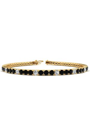 SuperJeweler 7.5 Inch 4 1/4 Carat Black & White Diamond Alternating Men's Tennis Bracelet in 14K (10.1 g)