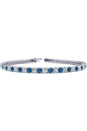SuperJeweler 9 Inch 5 Carat Blue & White Diamond Men's Tennis Bracelet in 14K (12.1 g)