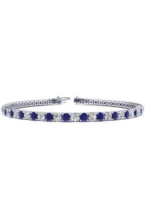 SuperJeweler 8.5 Inch 4 Carat Sapphire & Diamond Men's Tennis Bracelet in 14K (11.3 g)