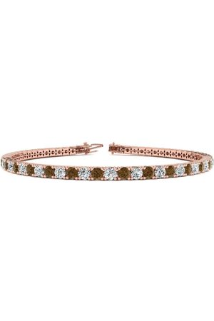 SuperJeweler 7.5 Inch 4 1/4 Carat Chocolate Bar Brown Champagne & White Diamond Men's Tennis Bracelet in 14K (10.1 g)