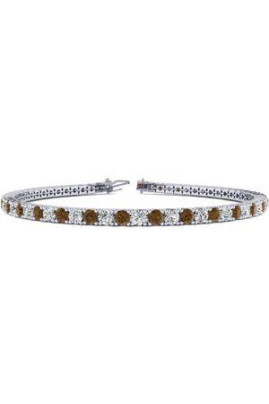 SuperJeweler 8.5 Inch 3 1/4 Carat Chocolate Bar Brown Champagne & White Diamond Men's Tennis Bracelet in 14K (11.3 g)