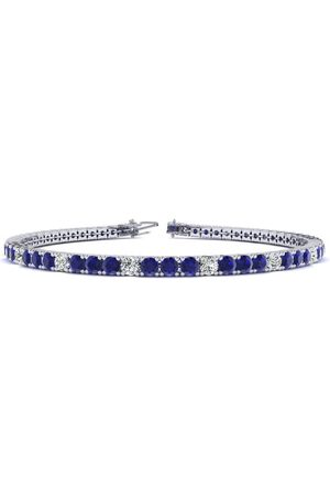 SuperJeweler 7.5 Inch 5 1/4 Carat Sapphire & Diamond Alternating Men's Tennis Bracelet in 14K (10.1 g)