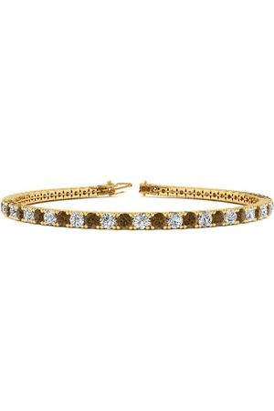 SuperJeweler 8.5 Inch 4 3/4 Carat Chocolate Bar Brown Champagne & White Diamond Men's Tennis Bracelet in 14K (11.4 g)