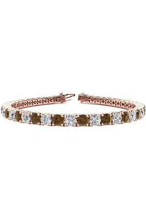 SuperJeweler 8 Inch 10 1/2 Carat Chocolate Bar Brown Champagne & White Diamond Men's Tennis Bracelet in 14K (13.7 g)