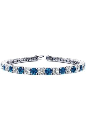SuperJeweler 9 Inch 11 3/4 Carat Blue & White Diamond Men's Tennis Bracelet in 14K (15.4 g)