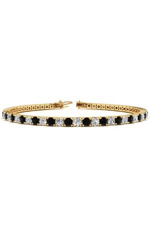 SuperJeweler 8 Inch 3 Carat Black & White Diamond Men's Tennis Bracelet in 14K (10.6 g)