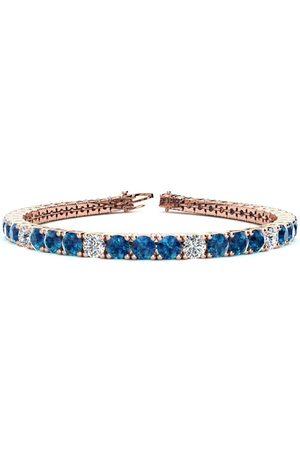 SuperJeweler 8.5 Inch 11 1/5 Carat Blue & White Diamond Alternating Men's Tennis Bracelet in 14K (14.6 g)