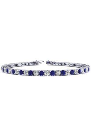 SuperJeweler 8 Inch 5 Carat Sapphire & Diamond Men's Tennis Bracelet in 14K (10.7 g)