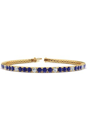 SuperJeweler 7.5 Inch 5 1/4 Carat Sapphire & Diamond Alternating Men's Tennis Bracelet in 14K (10.1 g)