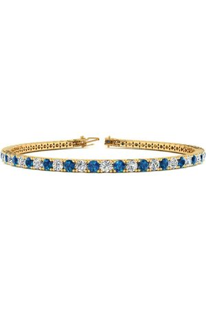 SuperJeweler 7.5 Inch 4 1/4 Carat Blue & White Diamond Men's Tennis Bracelet in 14K (10.1 g)