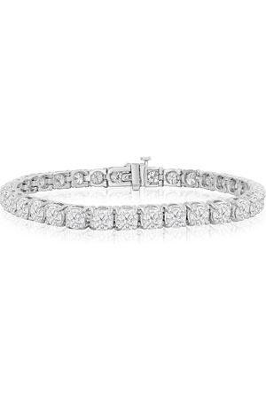 SuperJeweler 7.5 Inch 14K (16.6 g) 9 3/4 Carat TDW Round Diamond Men's Tennis Bracelet (