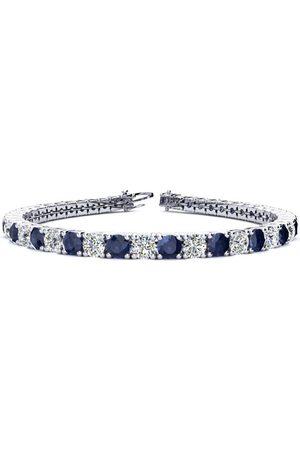 SuperJeweler 8.5 Inch 13 1/2 Carat Sapphire & Diamond Men's Tennis Bracelet in 14K (14.6 g)