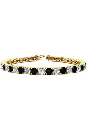 SuperJeweler 9 Inch 11 3/4 Carat Black & White Diamond Men's Tennis Bracelet in 14K (15.4 g)