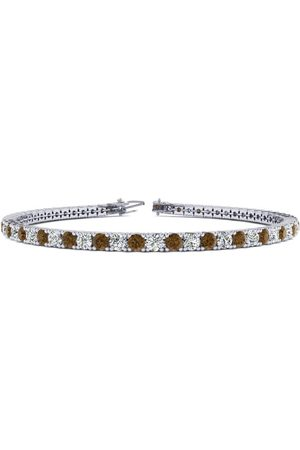SuperJeweler 7.5 Inch 2 3/4 Carat Chocolate Bar Brown Champagne & White Diamond Men's Tennis Bracelet in 14K (10 g)