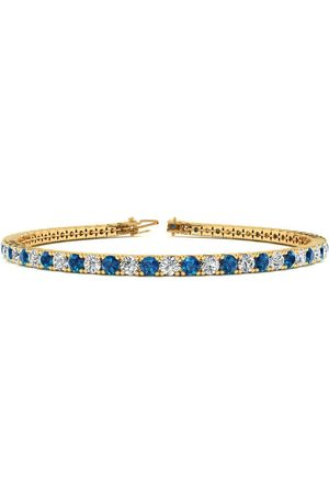 SuperJeweler Men Bracelets - 8 Inch 3 Carat Blue & White Diamond Men's Tennis Bracelet in 14K (10.6 g)