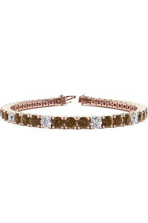 SuperJeweler 7.5 Inch 9 3/4 Carat Chocolate Bar Brown Champagne & White Diamond Alternating Men's Tennis Bracelet in 14K (12.9 g)