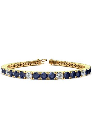 SuperJeweler 9 Inch 15 1/2 Carat Sapphire & Diamond Alternating Men's Tennis Bracelet in 14K (15.4 g)