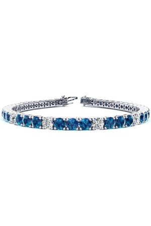 SuperJeweler 9 Inch 11 3/4 Carat Blue & White Diamond Alternating Men's Tennis Bracelet in 14K (15.4 g)