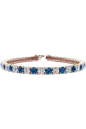 SuperJeweler 8.5 Inch 11 1/5 Carat Blue & White Diamond Men's Tennis Bracelet in 14K (14.6 g)